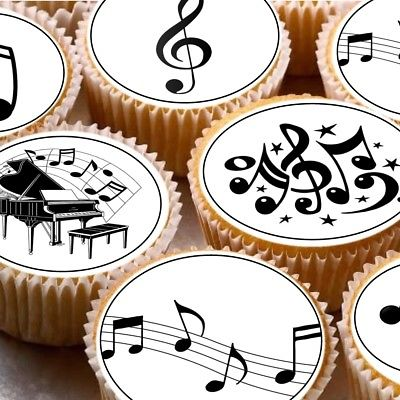 24-Edible-cupcake-fairy-cake-toppers-decorations-ND1-Musical-Notes-music-0