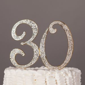 30 Gold Cake Topper 30th Birthday Anniversary