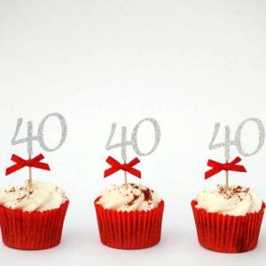 40th Birthday Cake Topper Pack Of 10 Cupcake Gold Party Decor