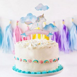 4pcs Set Rainbow Unicorn Cake Topper Baby Shower Birthday Party DecorXmas Decor