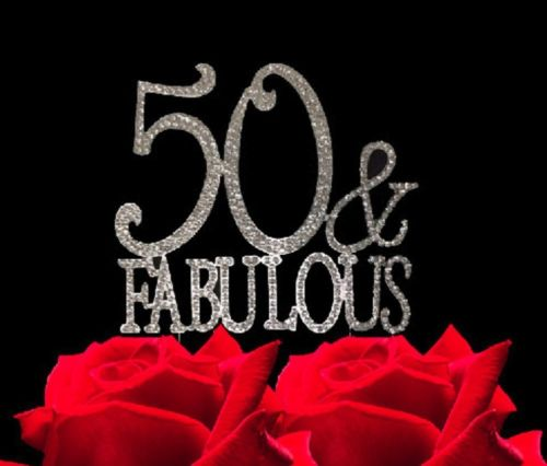50 And Fabulous Crystal Cake Toppers Bling 50th Birthday Topper
