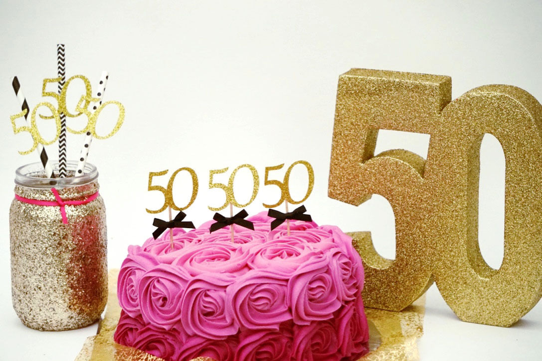 50th Birthday Party Accessories Fifty Cake Topper And Paper Straws