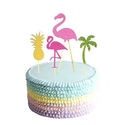 5pcs-Decor-Flamingo-Sticks-Cupcake-Topper-Picks-Party-Cake-Decoration-Hawiian-0