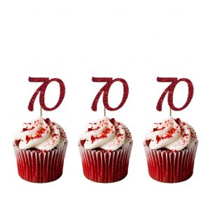 70th Cupcake Toppers Glittery Dark Pink Pack Of 10 Number 70 Birthday Cake