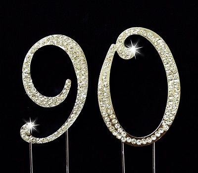90th-Birthday-Anniversary-Number-Cake-Topper-Sparkling-Rhinestones-275-Inches-0