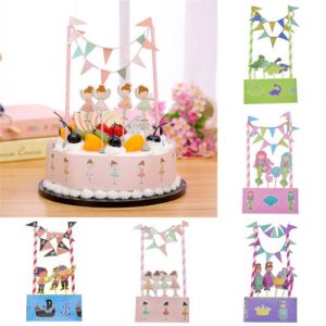 Baby Shower Birthday Party Favors Cake Cupcake Toppers Pick Bunting Banner Flags