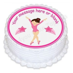 Cartoon Gymnastics ND1 Personalised Round Cake Topper Icing