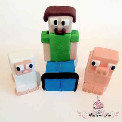 Edible-Minecraft-Steve-Sheep-And-Pig-Set-Icing-Cake-Topper-unofficial-0