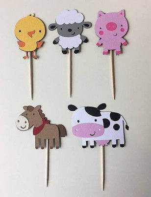 Farm-Animal-cupcake-toppers-Set-of-25Great-for-birthday-partiesHosecowlamb-0