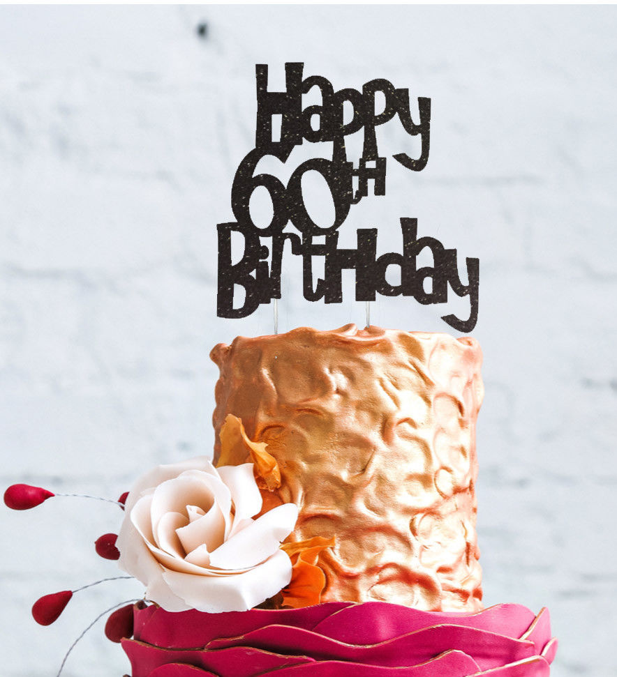 Happy 60th Birthday Cake Topper Glittery Black 60