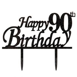 Happy 90th Birthday Cake Topper 90 Black Glitter Party