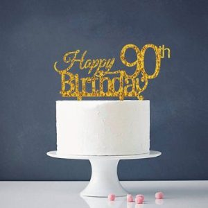 INNORU Happy 90th Birthday Cake Topper Gold Party Decoration Sup