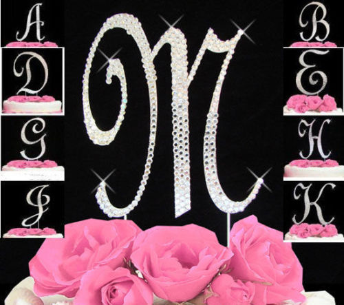 Monogram-Cake-Toppers-Complete-Covered-Crystal-Bling-Silver-A-to-Z-Any-Letter-0