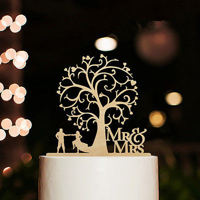 MrMrs-Wedding-Cake-Topper-Wood-Tree-Decoration-Ceremony-Funny-Edible-Romantic-0