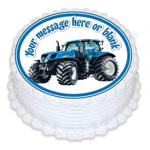 ND1 Blue Tractor Personalised Round Cake Topper Icing