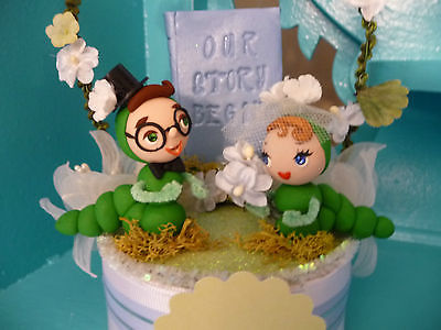 OOAK-Bookworms-Wedding-Cake-Topper-Keepsake-Retro-Anthropomorphic-Kitsch-0