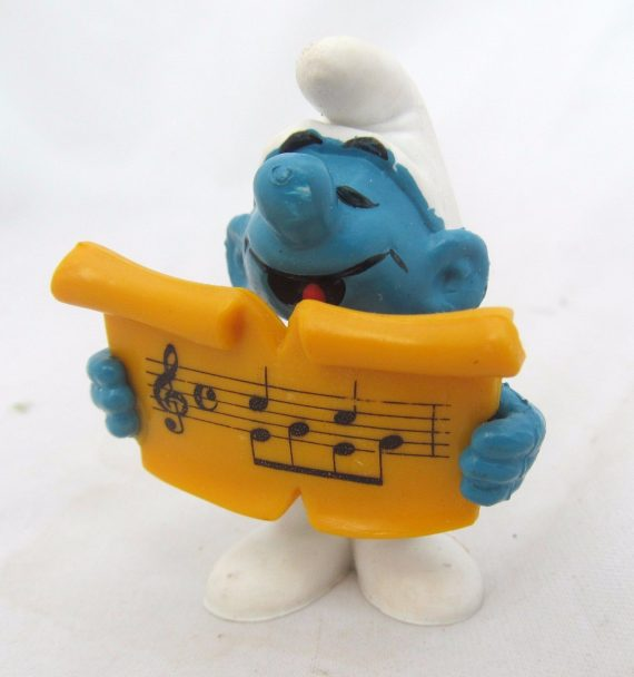Singing-Singer-Music-Note-Song-Vtg-Peyo-Smurf-Smurfs-Figurine-Figure-Cake-Topper-0
