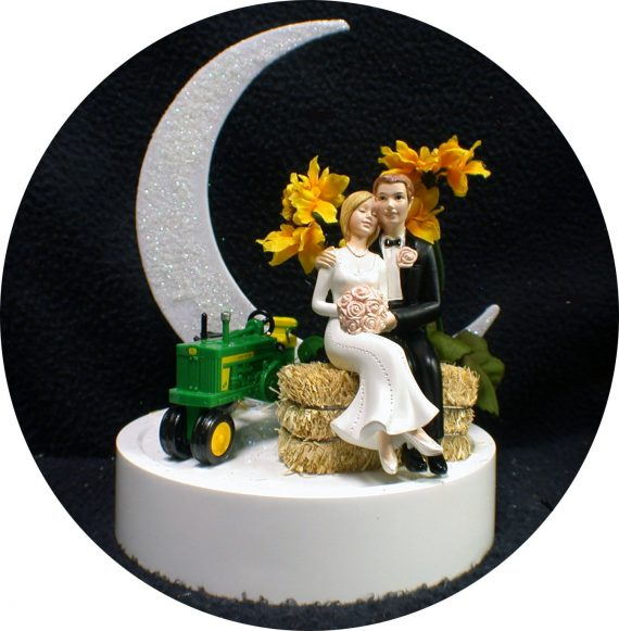 Sunflower-Country-Western-John-DEERE-Tractor-Wedding-Cake-Topper-Farmer-Hay-top-0