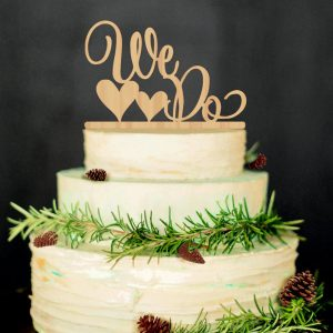 Wooden Cake Topper Double Hearts We Do Wedding Party Favor Sup17002