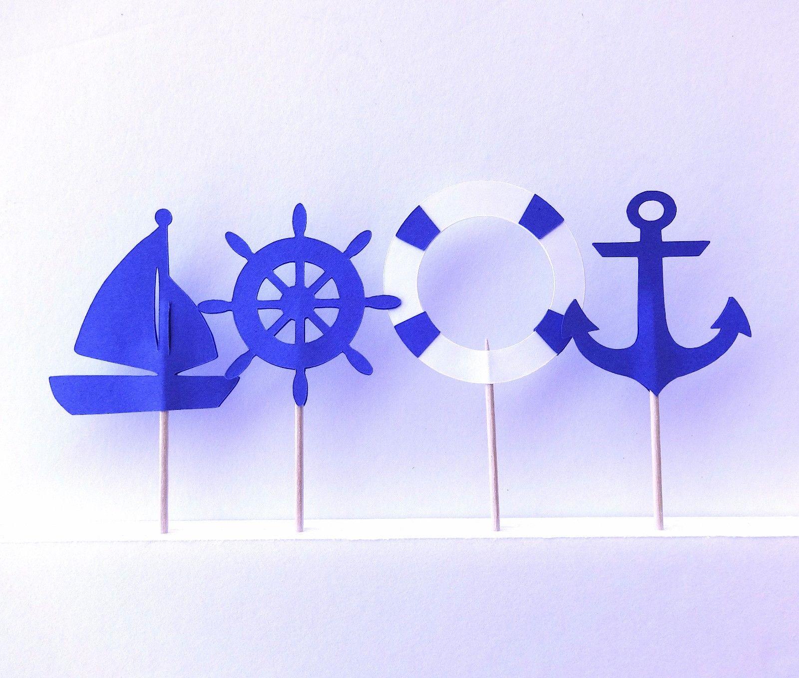 Girl Nautical Cupcake Toppers Set of 12
