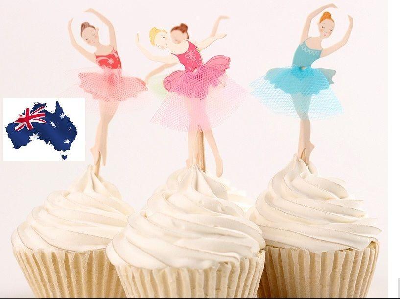 "Cake Bun Toppers 12 x 2/"" Ballet Dancer Personalised Edible Rice Paper Cupcake"