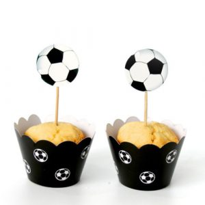 set of 12 Football cupcake toppers Superbowl party ring
