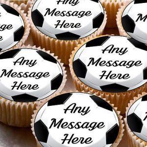 """24 Football 1.5/"""" Edible Icing Cupcake Fairy Cake Party Bun Toppers"""