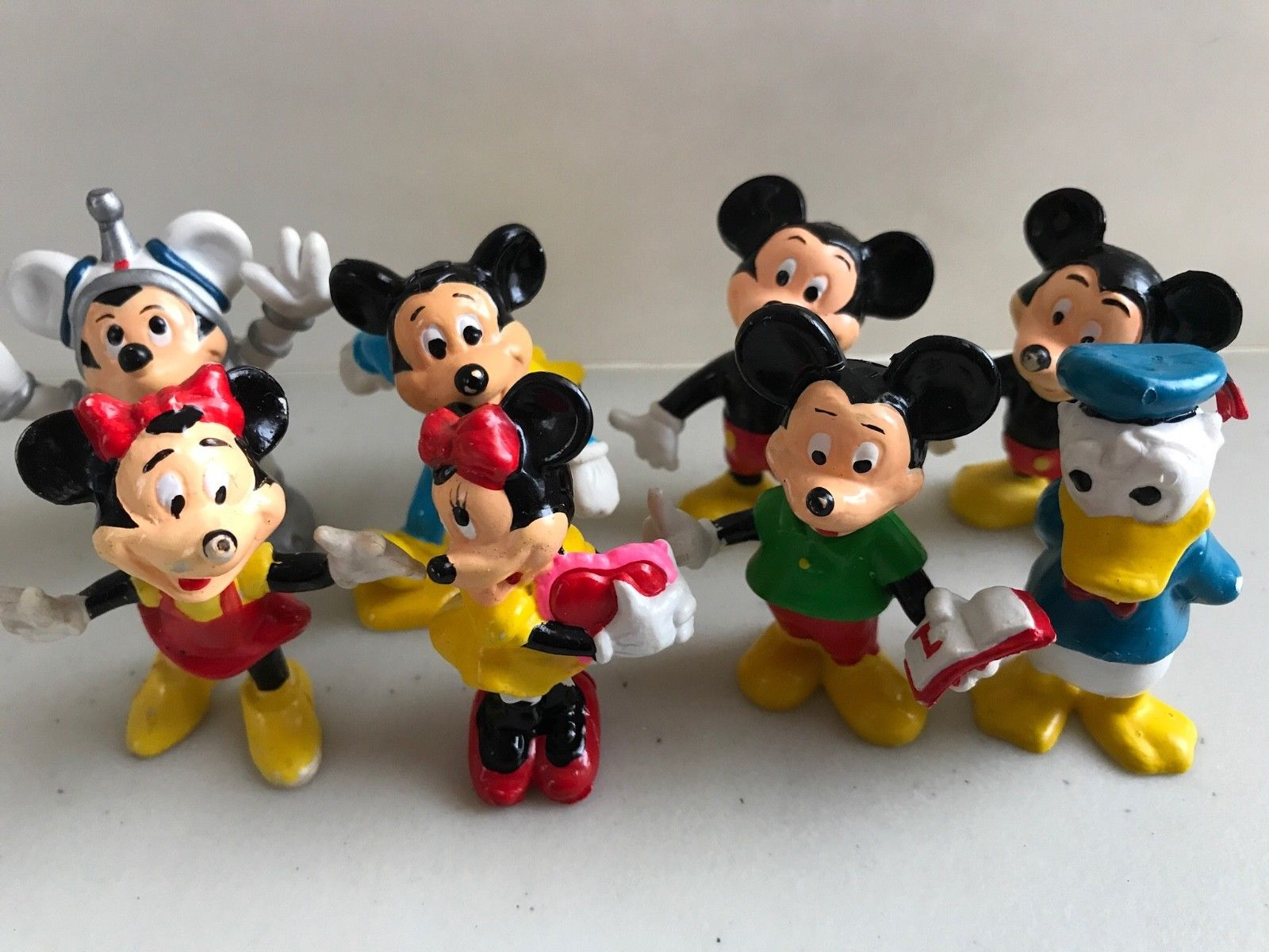 Lot 2 Vintage Disney Donald Duck PVC Figure ToyCake Topper Mickey Mouse