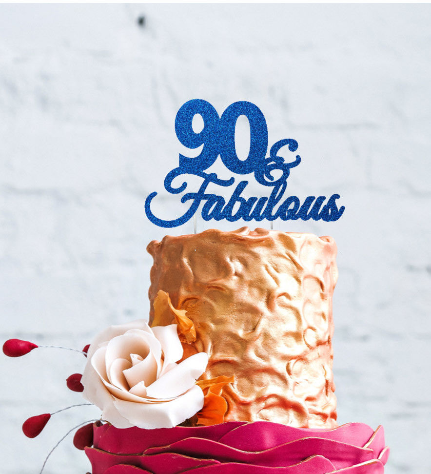 90 cake topper 90th birthday topper 90th birthday party decoration gold cake topper 90 birthday topper ninety cake top 90th cake topper