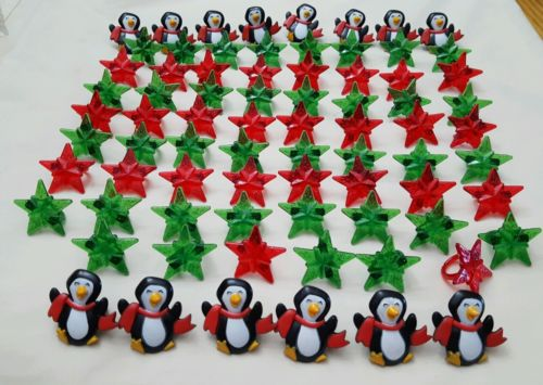 CHRISTMAS Table CONFETTI Wooden Penguins in Hats Sprinkles Decoration 24pcs